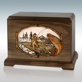 Walnut Trout Stream Fishing Hampton - Wood Cremation Urn