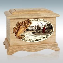 Oak Bass Fishing Boat Ambassador - Wood Cremation Urn