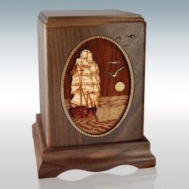 Walnut Sail Ship - Wood Cremation Urn