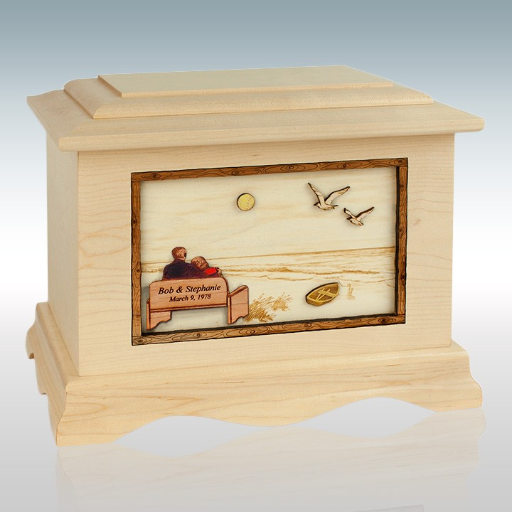 Soulmates at the Beach - Wood Cremation Urn | Memorials Forever