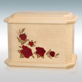Maple Octagon Roses Inlay - Wood Cremation Urn