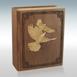 Walnut Book with Doves Inlay - Wood Cremation Urn