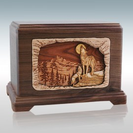 Walnut Wolves in Mountain Hampton - Wood Cremation Urn