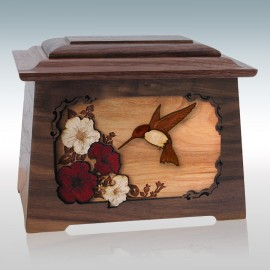 Walnut Hummingbird Astoria - Wood Cremation Urn