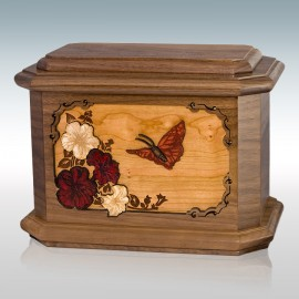 Walnut Butterfly Octagon - Wood Cremation Urn