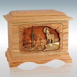 Oak Desert Wolf Ambassador - Wood Cremation Urn