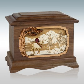 Walnut Cowboy by the Water Ambassador - Wood Cremation Urn