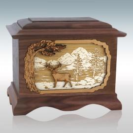 Walnut Whitetail Deer Ambassador - Wood Cremation Urn