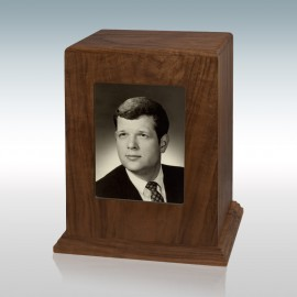 Walnut Vertical Photo - Wood Cremation Urn